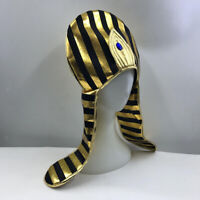 Vintage Black Gold Striped Egyptian Queen Hat Pharaoh Fancy Dress Costume