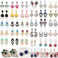 1Pair Elegant Women Fashion Rhinestone Ear Stud Earrings Crystal Chain Earrings