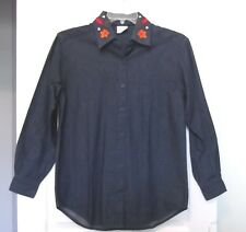 Style Studio Sz S Denim Button Front Shirt w/Fall Embroidery, long sleeves NWOT