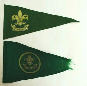 Old Boy Scout Pennants / Flags x 2 - Green