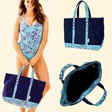Lilly Pulitzer Mercato Tote Beach Weekender Overnight Navy Canvas Zippered Bag