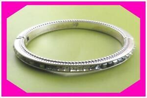 BRIGHTON SPECTRUM Gray Crystal OVAL Hinged BANGLE Bracelet Preloved