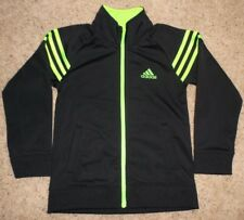 ADIDAS  Black/Neon Green  Zip Front Sweatshirt Top Jacket  Boys/Girls 6  NEW