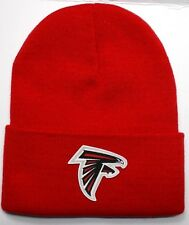 READ LISTING! Atlanta Falcons HEAT Applied Flat Logo on Beanie Knit Cap hat!