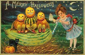 Halloween postcard print Jack-o-lantern Black cat NEW Fine Art Giclee Poster