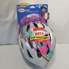 Bell True Fit Girls Bike Helmet Purple Pink Green Hearts Rear Safety Lights