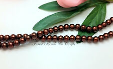 1 x Strand GLASS PEARLS BEADS ~ Chocolate Brown ~ 8mm Round, approx 110 Beads