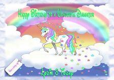 Personalised birthday card Unicorn daughter granddaughter niece friend