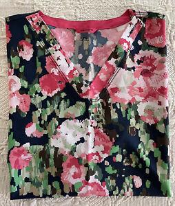 Carhartt Scrub V Neck Short Sleeves Pockets Floral Pinks Size 2X