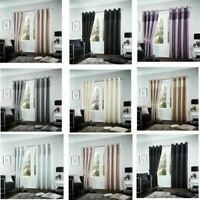 Luxurious Fuel Ready Made Eyelet Ring Top Fully Lined Shiny Curtains Tie Backs