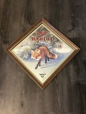 "Vtg Miller High Life ""SLY"" FOX By Scott Zoellick BEER Mirror Bar Sign"