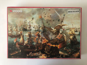 2000 Pieces Jigsaw Puzzle Jumbo The Battle Of Gibraltar C.H. Vroom Rare Puzzle