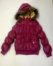 Babyphat Large Child's Pink Puffer Jacket Winter Coat Fur Trim