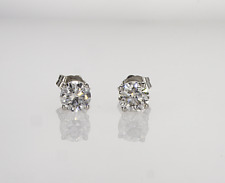 0.80 ctw D VS1 Round Cut Real Natural Diamond Stud Earrings 14k White Gold