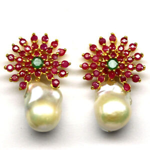 NATURAL PINK RUBY, EMERALD & PEARL EARRINGS 925 STERLING SILVER
