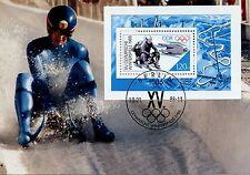 CARTE POSTALE MAXIMUM / GERMANY ALLEMAGNE SPORT / OLYMPIADE 1988 / LA LUGE