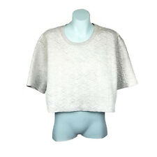 Hot Options Womens Top Size 16 Grey Short Sleeve Quilted Crop
