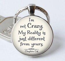 Cheshire Cat Alice in Wonderland Cabochon Glass Keyring Key Ring Key chain