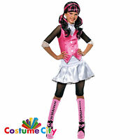Childs Girls Official Monster High Draculaura Vampire Fancy Dress Costume