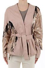 DROME Nw Woman Pink Leather Embellished Fringed Belt Jacket Coat Sz S Italy Made
