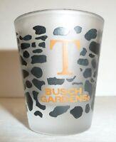 """Busch Gardens Frosted Shot Glass """"T"""" - Leopard Print Bar Bush Novelty Souvenir"""