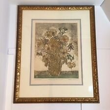 Framed Original Color Etching - Flowers For Dominique - By Ruth Kerkovius SIGNED