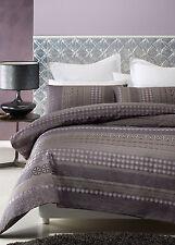 New HARRISON Purple Mauve Mocha Taupe Silver DOUBLE Quilt Doona Duvet Cover Set