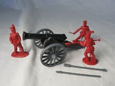 Alamo/Napoleonic field howitzer with 3 man crew in red-Classic Toy Soldiers-CTS