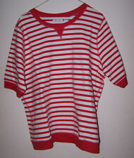 DENIM & CO. - FRENCH TERRY SHORT-SLEEVED STRIPED TOP - True Red - Sz XL - NWOT!