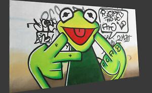80cm   MODERN  CANVAS ART OIL PAINTING PRINT happy frog green finger(not Framed)