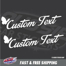 2x Custom Text With Butterfly Car Laptop Sticker Decal Car Vinyl Personalized