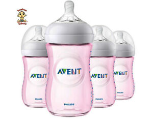 Avent Natural Feeding Bottle, New Spiral Teats Design, 9 oz, Pink, 1 to 4 Pack