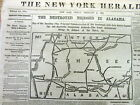 1862 Civil War newspaper with Map of TENNESSEE Alabama KENTUCKY and Mississippi
