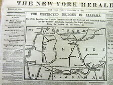 1862 Civil War newspaper w Map of TENNESSEE Alabama KENTUCKY and Mississippi