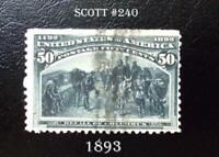A Great American Stamp #240  1893 50c Columbian Commemorative Recall of Columbus