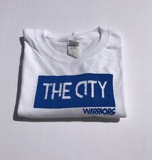 "Custom Golden State Warriors Blue And White ""The City"" Logo T Shirt Men's Large"