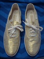 New listing Vintage Ladies Pacific Express Gold Sparkle Zippy Lace Up Sneakers Size 9