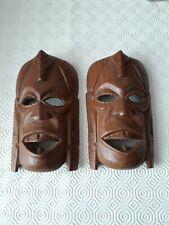 A Pair  Wooden African Wall masks