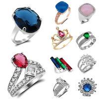Rainbow & White Topaz Amethyst Gemstone Silver Plate Ring Size 6-10 Jewelry Gift
