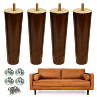 "Furniture Legs x4 Wooden Black Walnut Finished 6"" 8"" Sofa Couch Chair Legs"