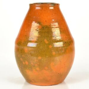 "Vintage Jugtown Pottery Vernon Owens Mottled Orange 5 1/2"" Vase c1959-72"