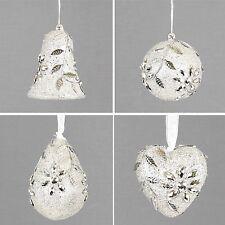 4 x Silver Assorted Shape Hanging Decorations 8cm Bell Ball Drop Heart Wedding
