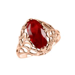 Damenring Edelschmuck neu 585 Rose Rot gold mit Rubin Marquise Markisa