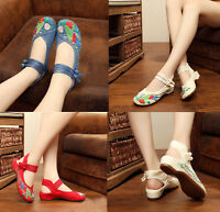 Women Chinese Folk Embroidered Flat Shoes Floral Mary Jane Sandals Shoes Comfort