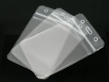 50 x Clear Vertical/Portrait ID Badge Plastic Pocket Holder Pouchs 109 x 69mm