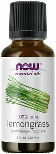 NOW 100% Pure Lemongrass Essential Oil 1 oz 30 ml, Clearance for stained label