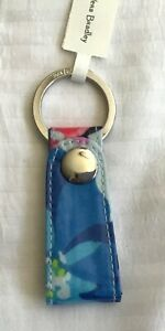 Vera Bradley Marian Floral Loop Key Ring- Blue pink white  silver ring