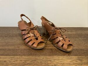 Zu Lace Up Leather Sandal Heels Shoes in Tan - Size 6