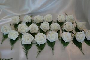 20 Rose Wedding Buttonholes Ivory Diamante Groom,Best Man,Guest