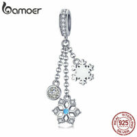 BAMOER 100% Sterling Silver Charm Snowflake Dangle With CZ Fit bracelet Jewelry